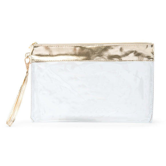 Large Clear Plastic Makeup Bag 'Gold Trim' - InCasaGifts