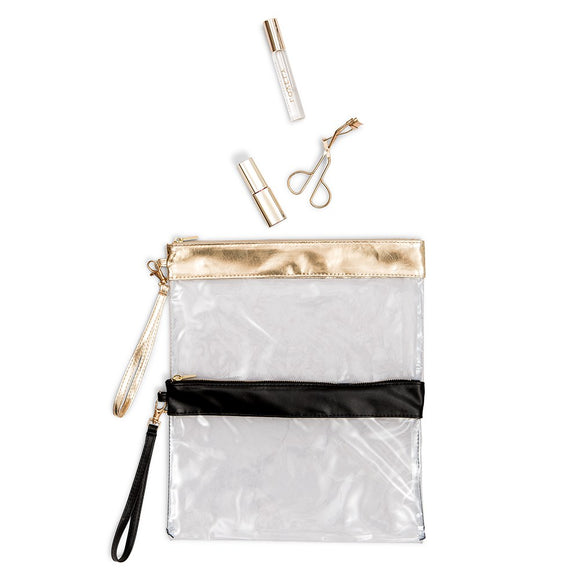 Clear Plastic Stadium Tote Bag Gold Trim - InCasaGifts