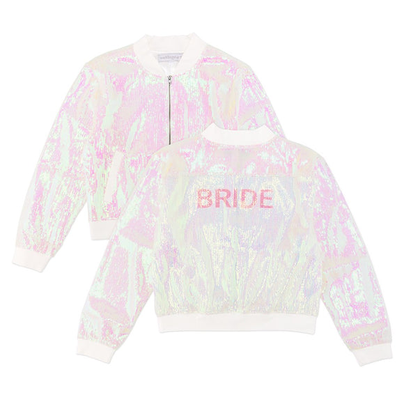 Sparkly Iridescent Pink Sequin Bomber Jacket - Bride Large - InCasaGifts