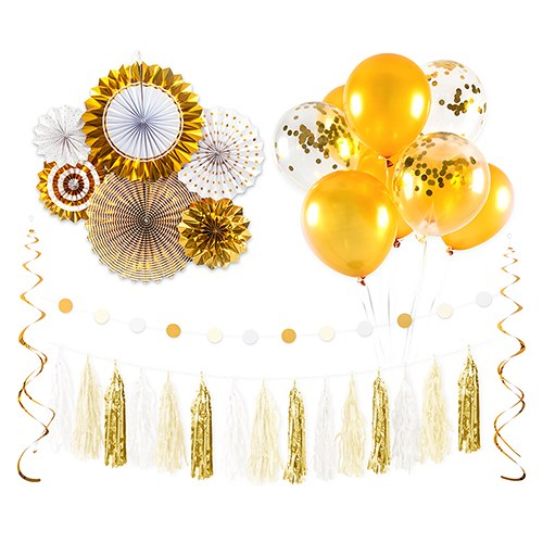 Assorted Party Decoration Kit - Gold & White - InCasaGifts