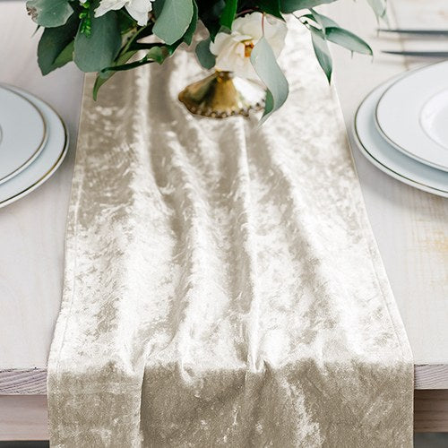 Velvet Table Runner - Ivory White - InCasaGifts