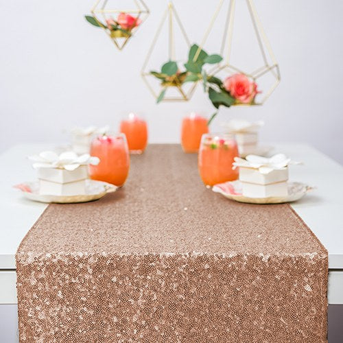 Modern Sparkle Sequin Table Runner - Metallic Rose Gold - InCasaGifts