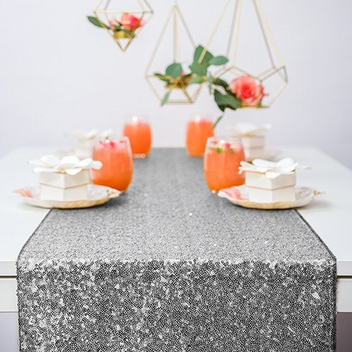Modern Sparkle Sequin Table Runner - Metallic Silver - InCasaGifts