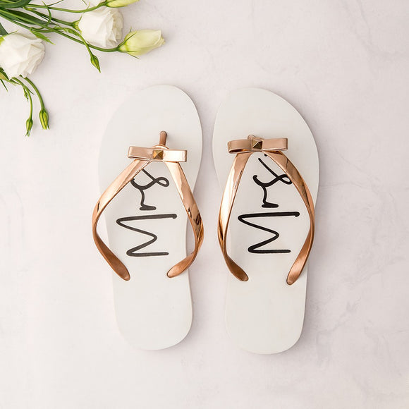 Women's White & Rose Gold Flip-Flops with Bow - Mrs Large White - InCasaGifts