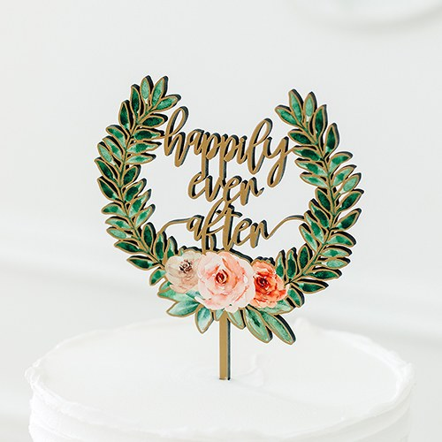 Natural Wood Cake Topper Decoration - Floral Happily Ever After - InCasaGifts