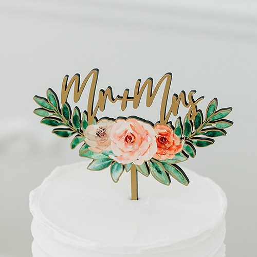 Natural Wood Cake Topper Decoration - Floral Mr + Mrs - InCasaGifts