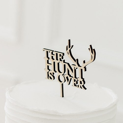 Natural Wood Cake Topper Decoration - The Hunt is Over - InCasaGifts