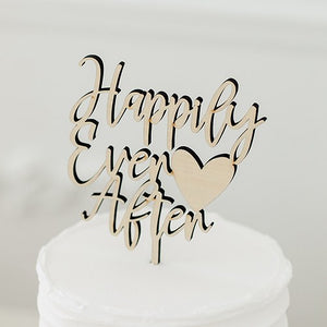 Natural Wood Cake Topper Decoration - Happily Ever After - InCasaGifts