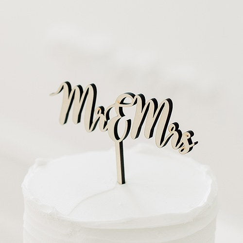 Natural Wood Cake Topper Decoration - Mr & Mrs - InCasaGifts