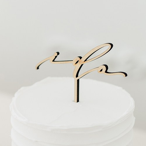 Natural Wood Cake Topper Decoration - I Do - InCasaGifts