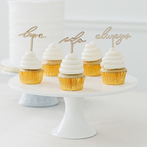 Natural Wood Cupcake Topper Picks - Love Collection - Set of 12 - InCasaGifts