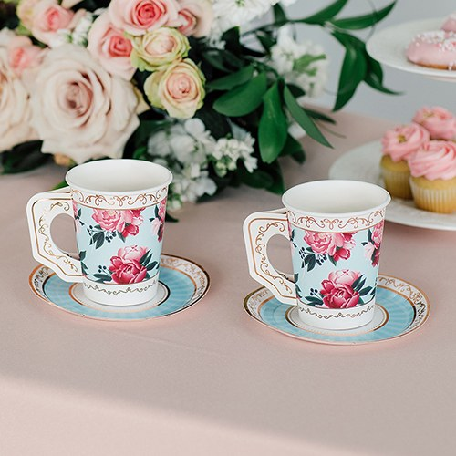 Paper Teacups with Handles & Saucers - Modern Floral - Set of 8 - InCasaGifts