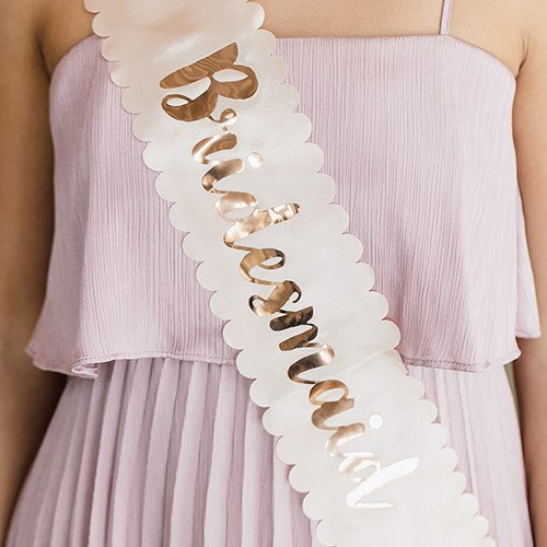 Blush Pink & Rose Gold Satin Bachelorette Party Sash - Bridesmaid - InCasaGifts