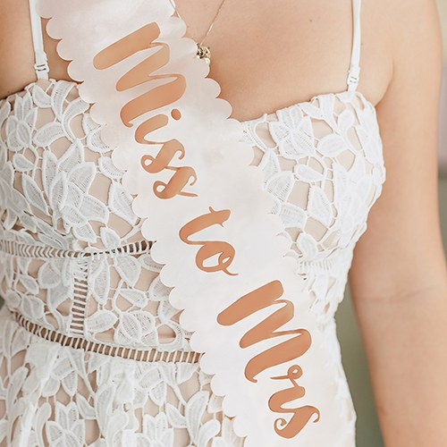 Blush Pink & Rose Gold Satin Bachelorette Party Sash - Miss to Mrs - InCasaGifts