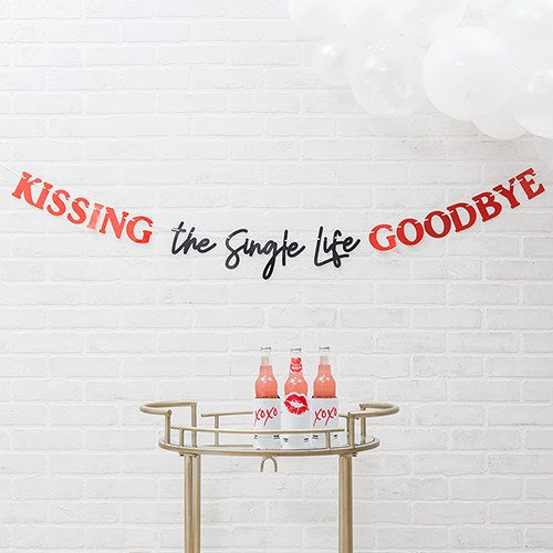 Paper Bachelorette Party Banner - Kissing The Single Life Goodbye - InCasaGifts