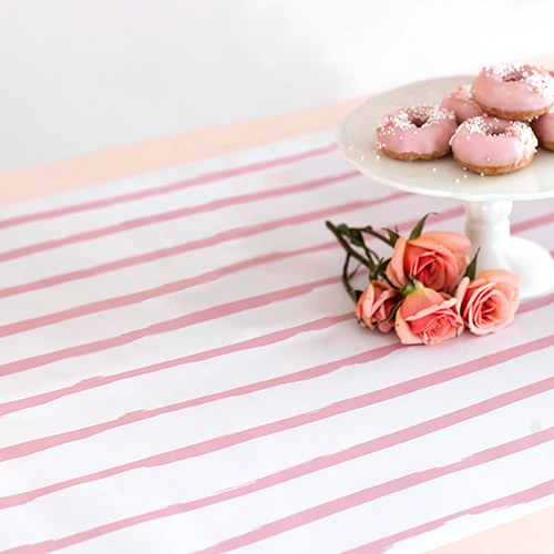 Decorative Paper Table Runner - Light Pink Stripe - InCasaGifts