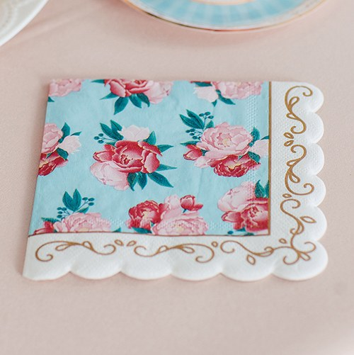Cute Special Occasion Paper Party Napkins - Modern Floral - Set of 20