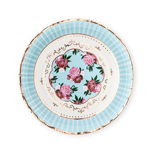 Large Round Disposable Paper Party Plates - Modern Floral Tea Party - Set of 8 - InCasaGifts