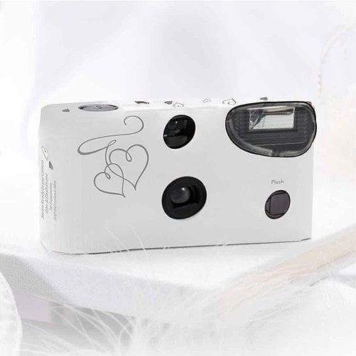 Disposable Camera with Flash - Silver Enchanted Hearts