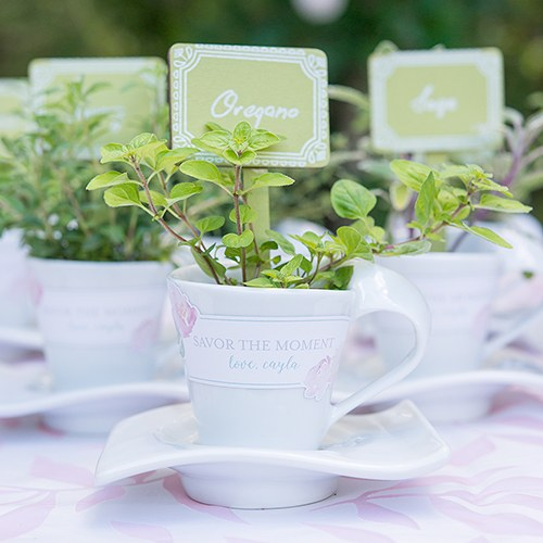 Modern White Cup and Saucer Favor Set (4)