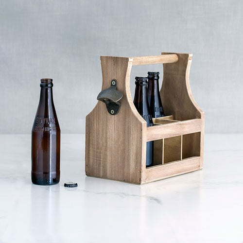 Wooden Beer Bottle Caddy with Opener - InCasaGifts