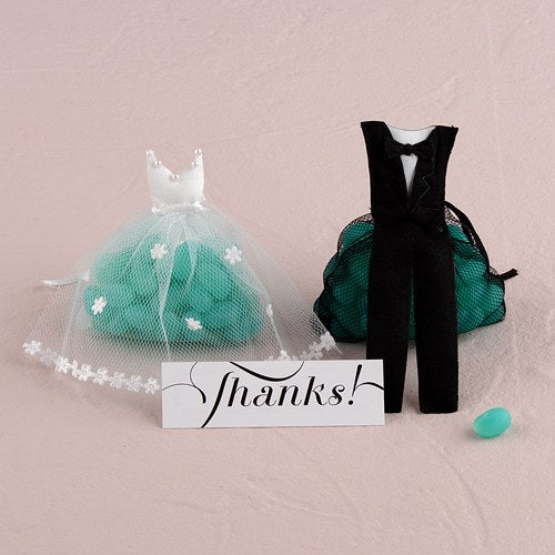White Wedding Dress and Tuxedo Organza Favor Bags (12) Mini Bride Dress