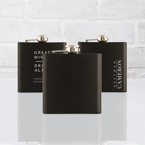 Black Hip Flask in Stainless Steel - InCasaGifts