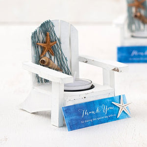 White Deck Chair Favor Candle Holders (4)