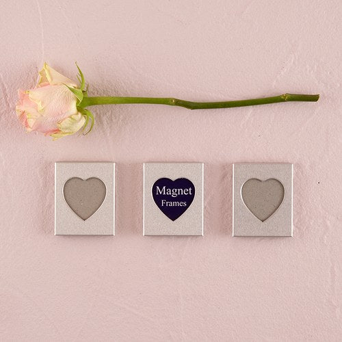 Mini Magnet Back Aluminum Heart Photo Frames (3)