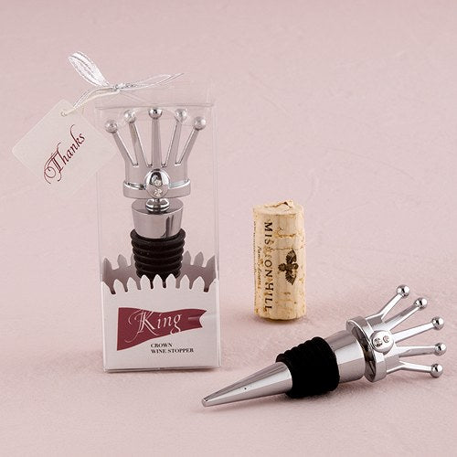 King Crown with Crystals Wine Stopper in Gift Packaging