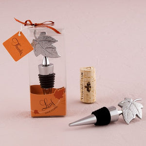 Silver Leaf Wine Bottle Stopper Gift Boxed