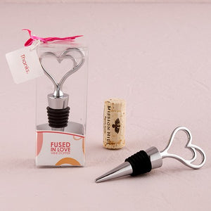 Silver Double Heart Wine Bottle Stopper Gift Boxed - InCasaGifts