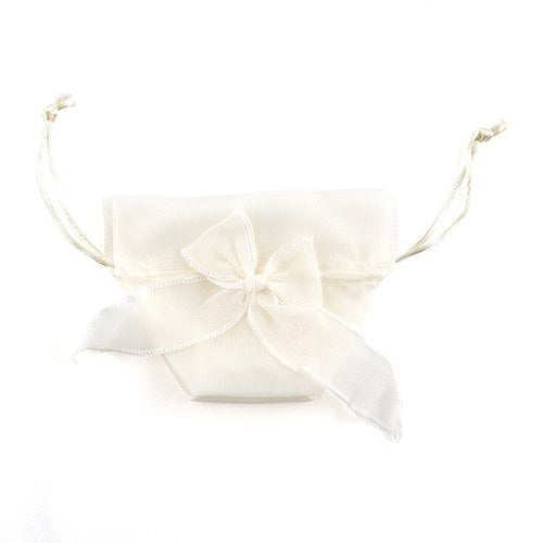 Organza Drawstring Favor Bags with Bow - Ivory (12)