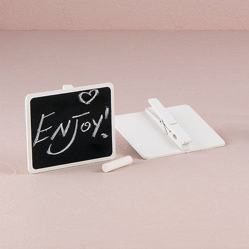 Wooden Black Board with Clip with White Wash Finish (6) - InCasaGifts