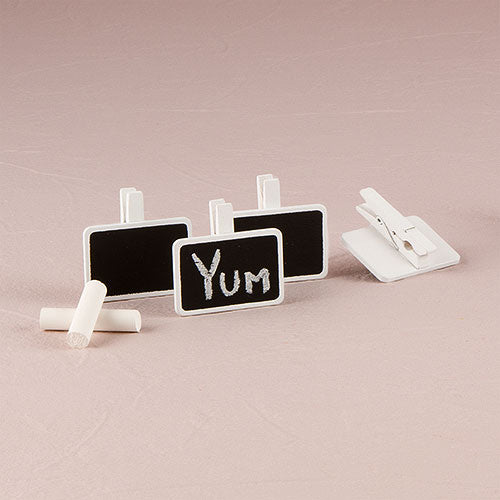 Miniature Rectangular Wooden Black Board Clip with White Wash Finish - InCasaGifts