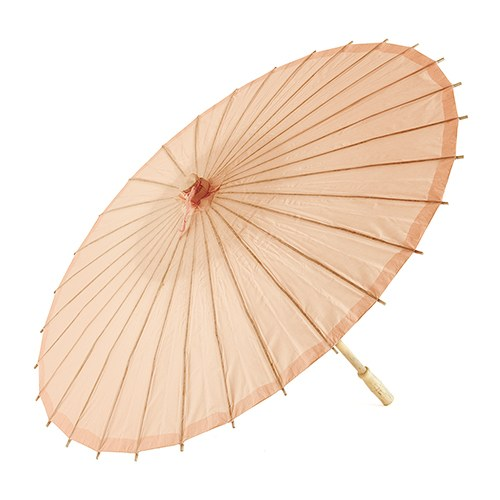 Pretty Paper Parasol with Bamboo Handle - Peach