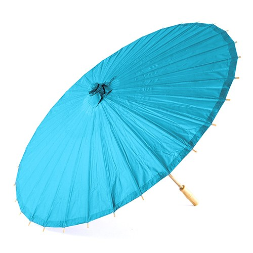 Pretty Paper Parasol with Bamboo Handle - Caribbean Blue - InCasaGifts