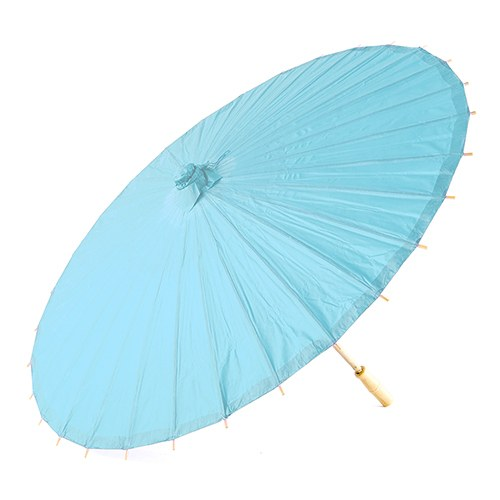 Pretty Paper Parasol with Bamboo Handle - Aqua Blue - InCasaGifts