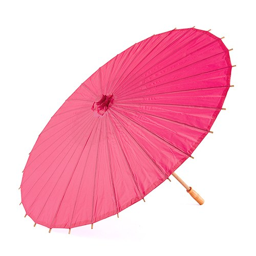 Pretty Paper Parasol with Bamboo Handle - Fuchsia - InCasaGifts