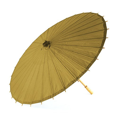 Pretty Paper Parasol with Bamboo Handle - Vintage Gold - InCasaGifts