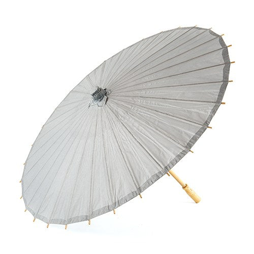 Pretty Paper Parasol with Bamboo Handle - Silver - InCasaGifts