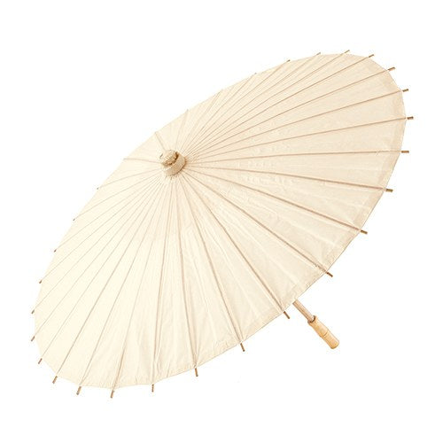 Pretty Paper Parasol with Bamboo Handle - Ivory - InCasaGifts