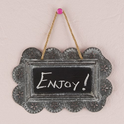 Small Scalloped Frame Tin Signs with Chalkboard - InCasaGifts
