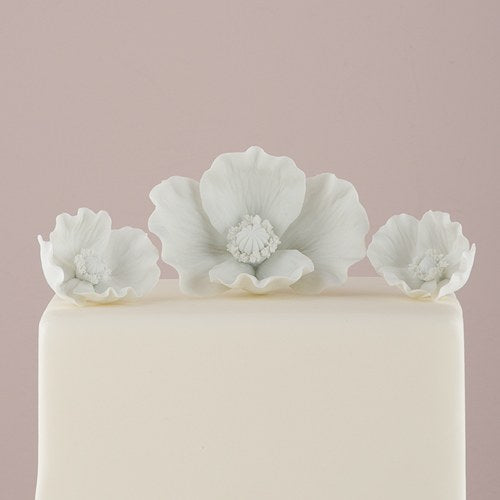 White Porcelain Bisque Poppy Blooms Cake Topper - InCasaGifts