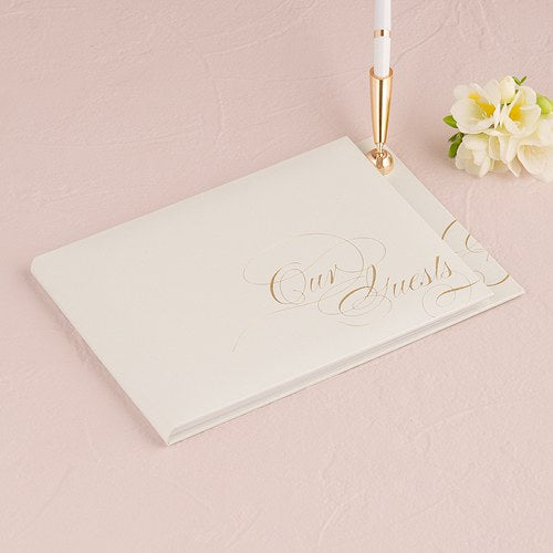 Pure Elegance Special Occasion Guest Book And Pen With Blank Pages Gold