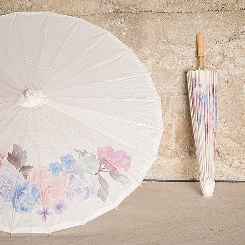 Pretty Paper Parasol with Bamboo Handle - Vintage Floral - InCasaGifts