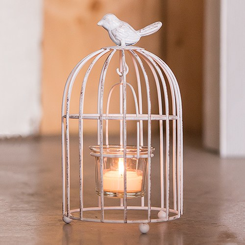 Small Metal Birdcage with Suspended Tealight Holder White - InCasaGifts