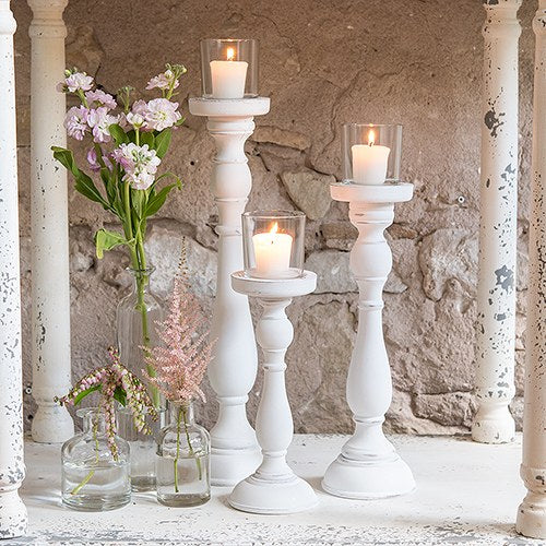 Shabby Chic Spindle Candle Holder Set White - InCasaGifts