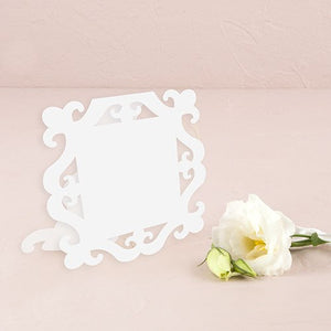 Laser Expressions Square Baroque Frame Folded Place Card - White (12)