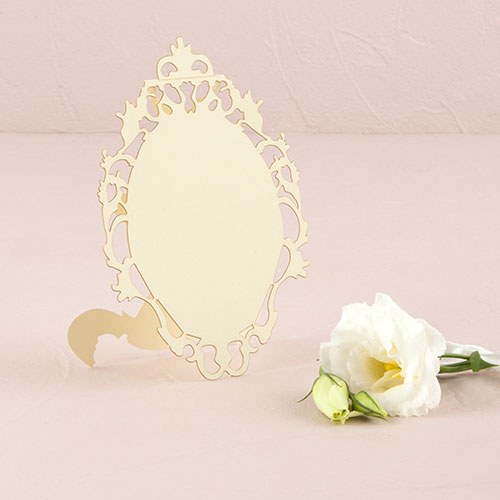 Laser Expressions Small Oval Baroque Frame Folded Place Card - Ivory